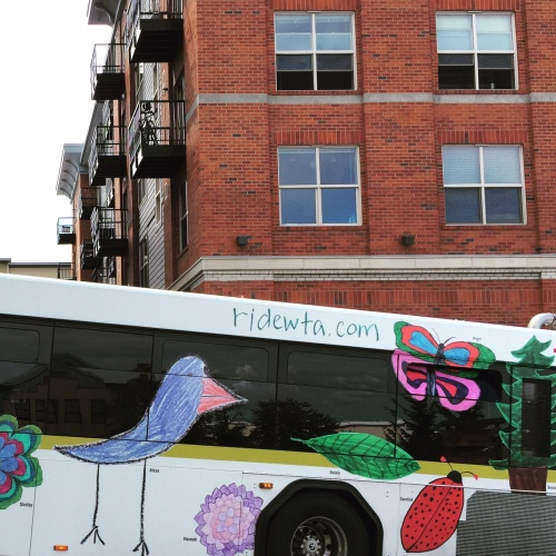 Bird on a bus in Bellingham