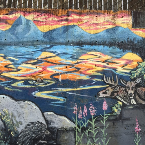 Part of a mural in Juneau. How many creatures do you see?
