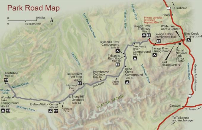 Map of the Denali Park Road