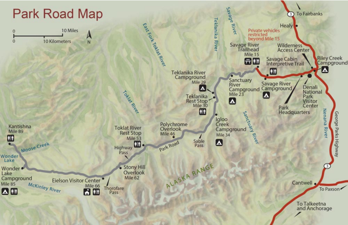 Map of the Denali Park Road