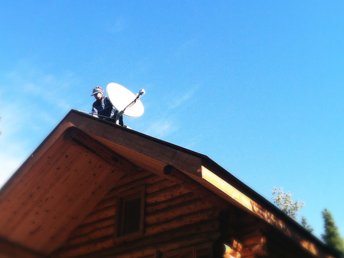 Installing satellite internet at the cabin in Alaska
