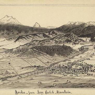 Drawing of Yreka by miner Daniel A. Jenks, circa 1860