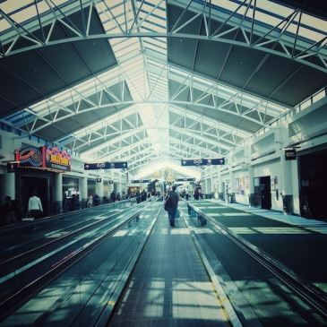 Photo of a moving walkway at PDX