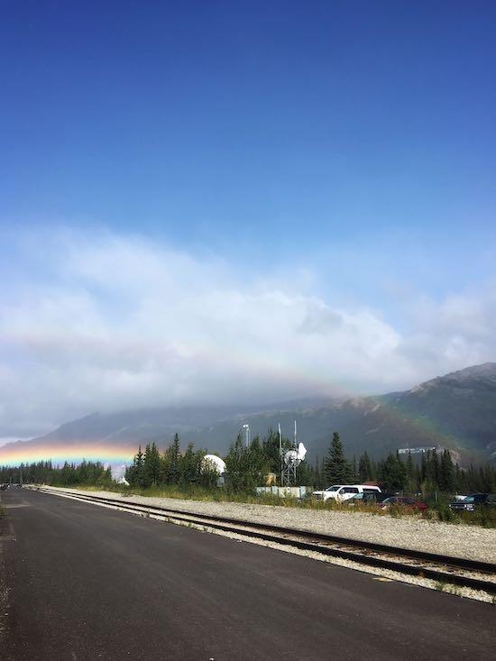 Photo of double rainbow at Denali National Park train depot
