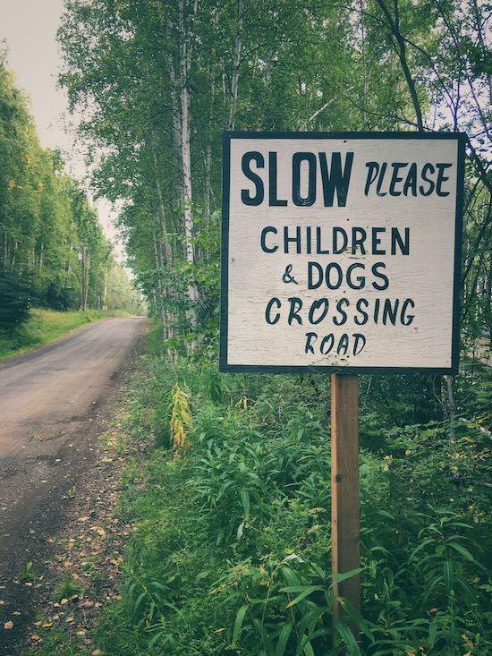 Photo of a sign saying please slow down